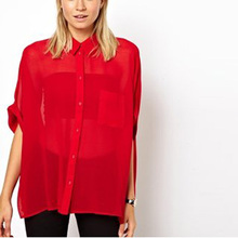 Nice Fashion Women Chiffon Blouse Summer Half Sleeve Batwing Shirt Pure Color Loose Blouse Translucent Blouse Style Tops AE105