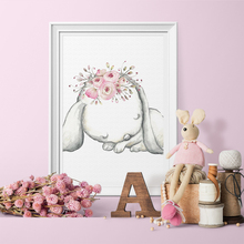 Modern Rabbit Girls Angel Cartoon Poster and Print Canvas Painting Spray Color Art Kids Baby Nursery Room Decor No Frame