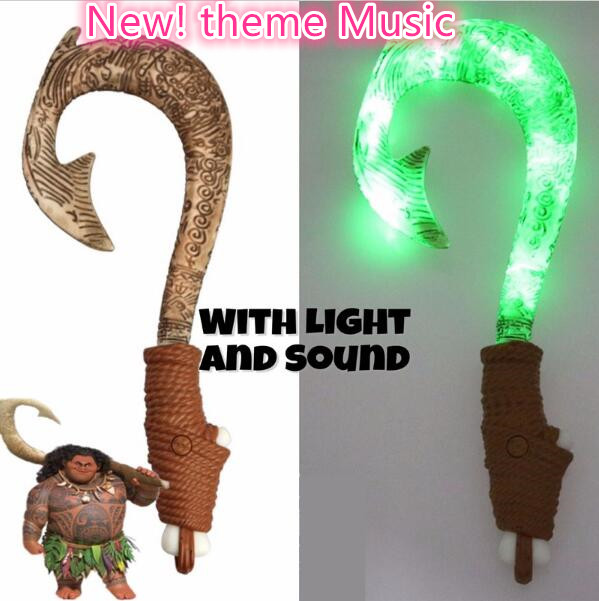 Moana Waialiki Maui Heihei Weapons Light Sound Saber Fishing Hook Action Figures Toy For Children Gift gonlei moana waialiki maui heihei abs weapons light sound saber fishing action figures moana adventure abs toy lightsaber gift