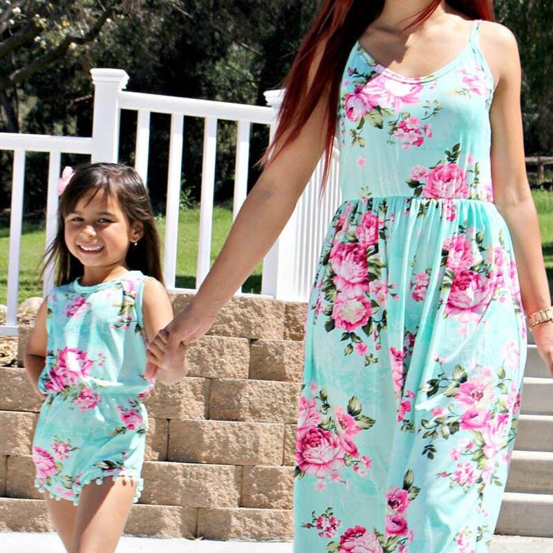 Floral Mother and Daughter Matching Floral Women Long Maxi Dress Girls Tassel Romper Beach Holidays Sundress