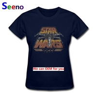 Fashion Ladies T-shirt Star Wars 1977 Clothing Tee Shirts Lady Short Sleeve 100% Cotton Cheap Sale Girl Tshirt For Femme