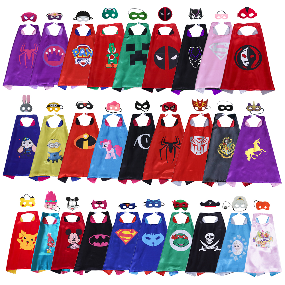 102 styles Superhero Cape+Mask for kids child 2-layer Top Quality cartoon costumes movie cosplay cape party favors---mix order
