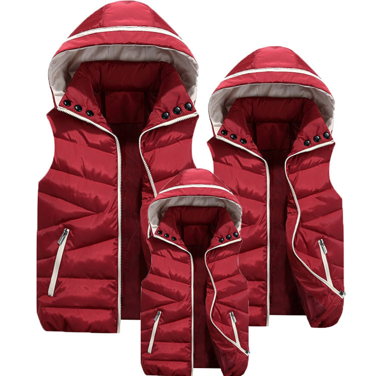 Family Matching Outfit Padded Vest Winter Mother Father Baby 5 Color Polyester Sleeveless Jacket Hooded Coat