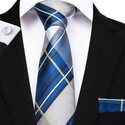 DiBanGu синий галстук в клетку комплект шелк жаккард мужской галстук Gravata Hanky набор запонок нагрудный Платок для мужчин галстук для свадьбы