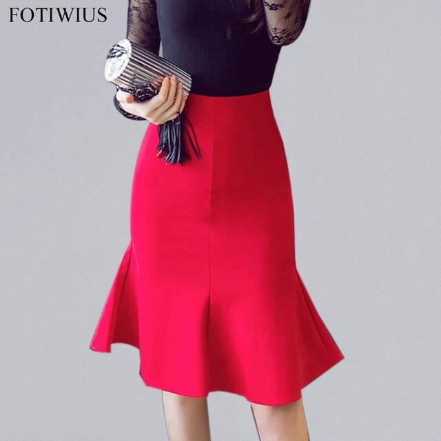 6eb83b41073 4XL 5XL Red Black Plus size Skirts For Women Elegant Office Skirts For  Ladies Ruffle Bodycon Meramaid Skirt Saia Midi