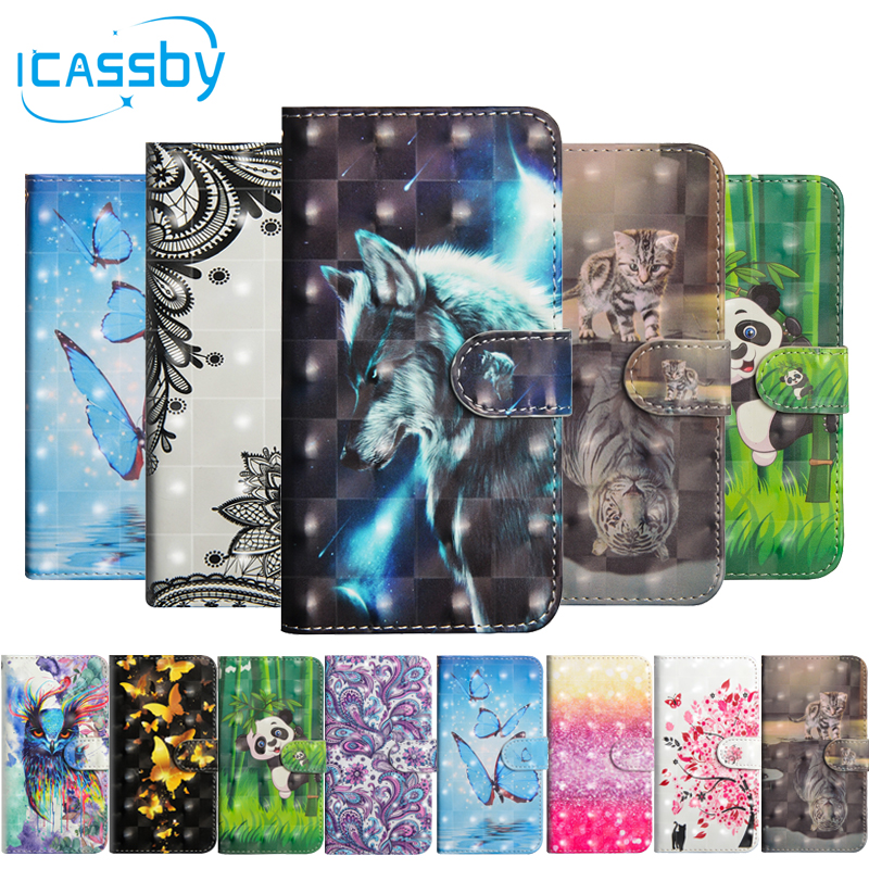 Case For Coque Huawei P Smart Case Cover Sfor Coque Huawei P Smart Cases 3d Bling Cute Panda Leather Flip Cover Capinha Etui