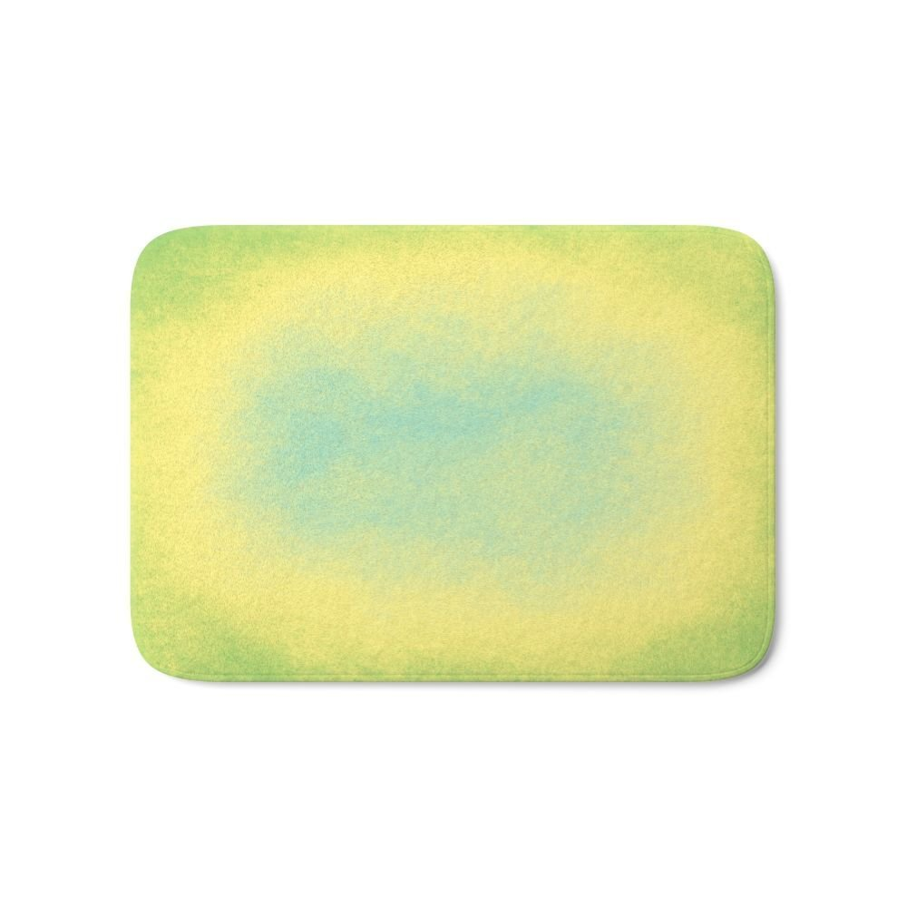 Abstract Spring Green, Yellow And Blue Bath Mat Carpets