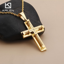 Christian Jewelry Stainless Steel Gold Cross Pendant Necklace