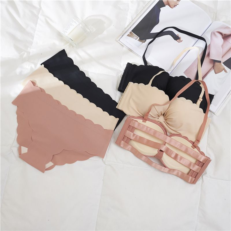 Women Brassiere Panties Underwear   Set     Bra     Sets   Sexy Seamless Push Up   Bra   Women Solid Color Lingerie Wireless   Bra     Brief     Sets