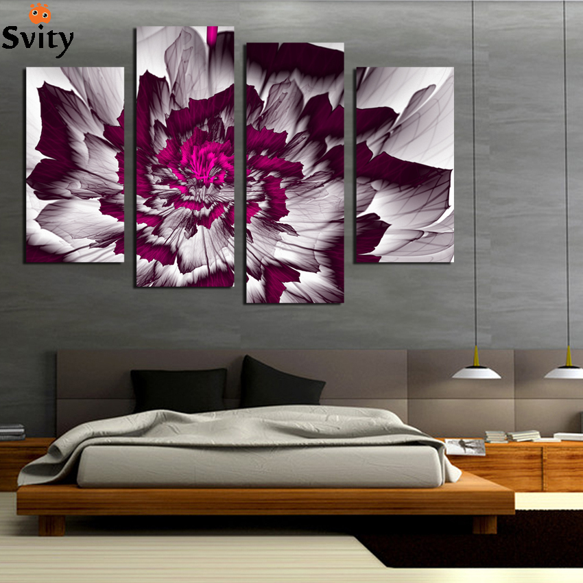 SVITY 4PCS Modular Canvas Painting Flower Simple Cute ...
