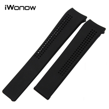 Silicone Rubber Watchband 20mm 22mm for Carrera Aquaracer Replacement Watch Band Curved End Strap Steel Buckle Wrist Bracelet