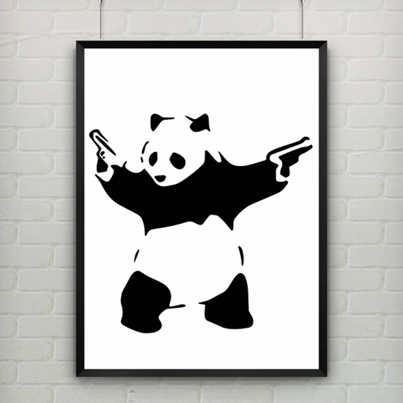 Panda With Guns by Banksy Print Abstract Graffiti Modern Art Canvas Painting Poster Provocative Humor Wall Picture NO Frame