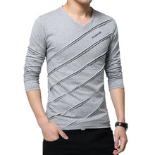 2018 Men T-Shirt V-Neck Long Sleeve Men Stripe Designer T-shirt Slim Fit Loose Casual Cotton T Shirt Male Tops & Tees Size M-5XL loose stripe raglan sleeve t shirt
