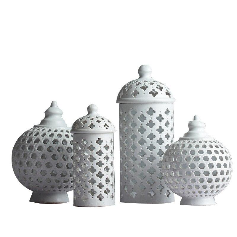 Creux Cercle Tube réservoir de stockage Pot Blanc En Céramique vase à fleurs bougeoir décoratif Multi-Fonction Chambre Accessoires R757