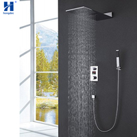 Hongdec Bathroom Luxury Concealed waterfall Rain Mixer Shower Set valve display to temperature
