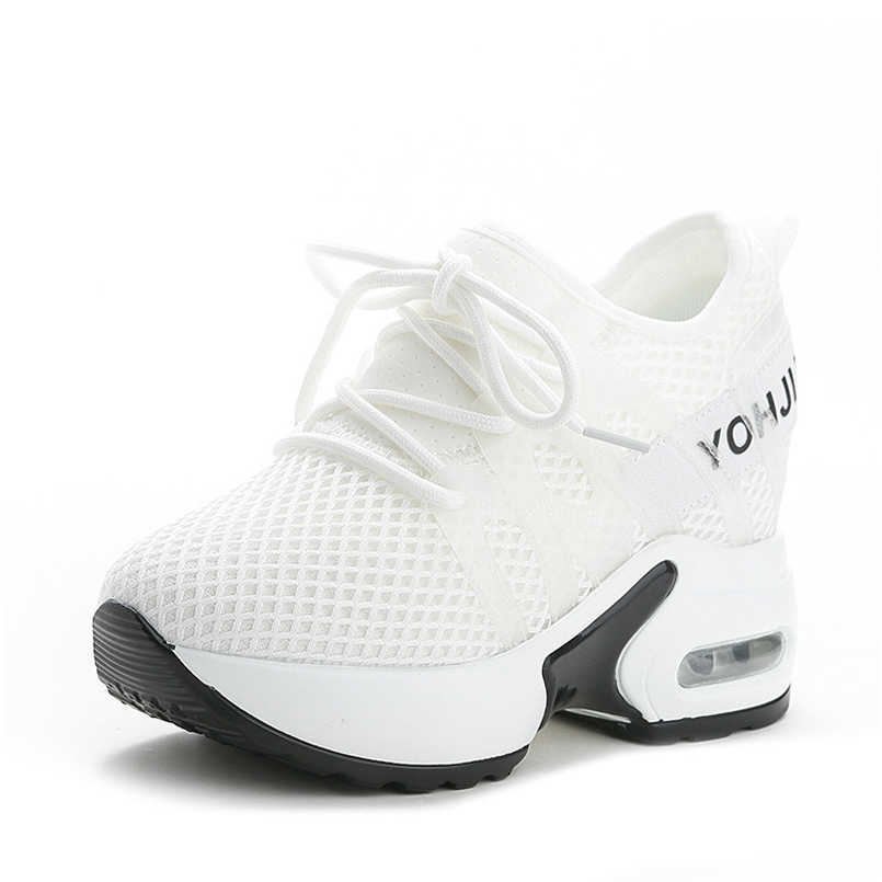 9620b51889 ... Z sport shoes woman breathable white wedges trend shoes fashion high  heels casual sneaker shoes women ...