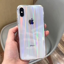 Luxury Rainbow Gradient Laser Transparent Phone Case for IPhone Xs Max XR X 6 6S 7 8 Plus Clear Colorful Glass Cases Back Cover