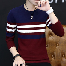 2018 spring sweater male round collar stripe sweater knit set of head of youth trend HOHO
