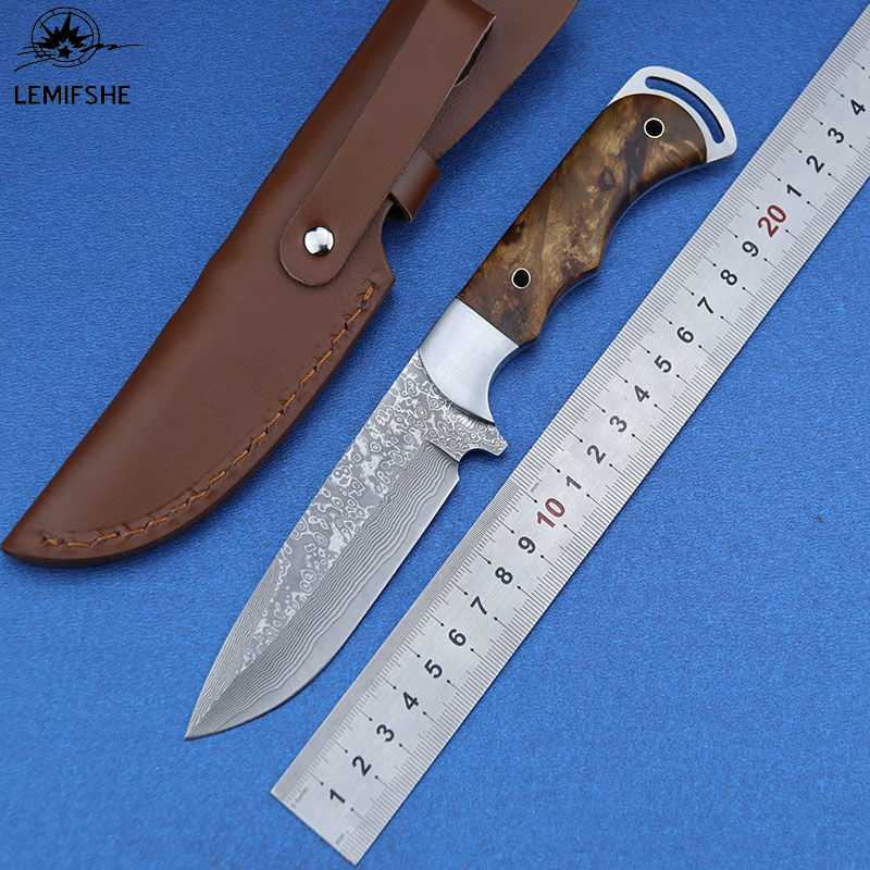 LEMIFSHE Damascus Steel Knife Shadow Wood Handle Outdoor Hunting Camping Survival Pocket Kitchen Fruit Knife Practical edc Tool