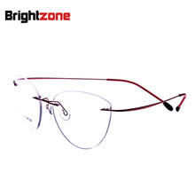2017 New Fashion Cat Eye Rimless Glasses Myopia Memory Titanium Women Men Eyeglasses Pilot Optical Frame Brand Brightzone