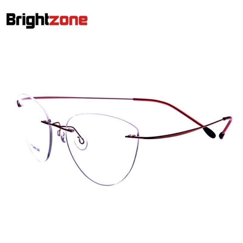 c90e4cc2d7 2017 nueva moda gafas sin montura ojo de gato miopía memoria titanio  mujeres hombres gafas piloto marco óptico marca zona brillante