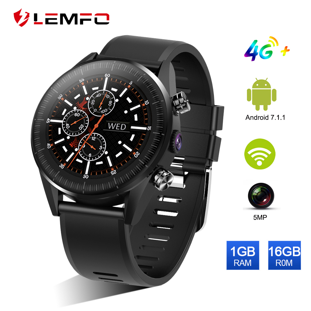 LEMFO KC05 4G Smart Watch Men Android 7 1 1 Quad Core GPS 5MP Camera 610Mah
