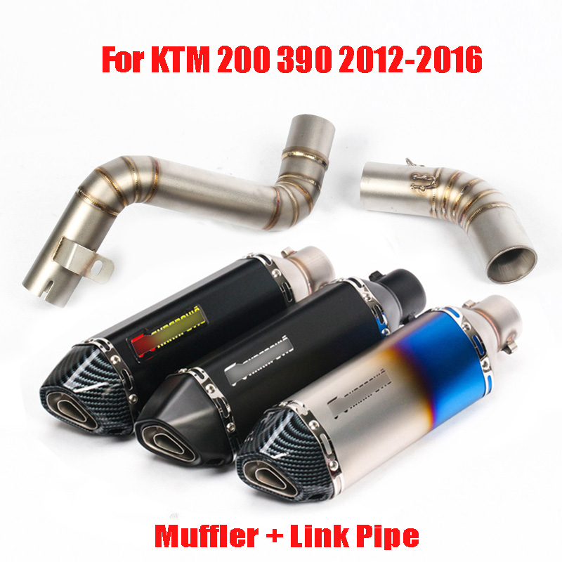 Duke 200 390 Motorcycle Exhaust System Slip on Muffler Escape Mid Link Connect Pipe Whole Set Pipe for KTM 200 390 2012-2016Duke 200 390 Motorcycle Exhaust System Slip on Muffler Escape Mid Link Connect Pipe Whole Set Pipe for KTM 200 390 2012-2016
