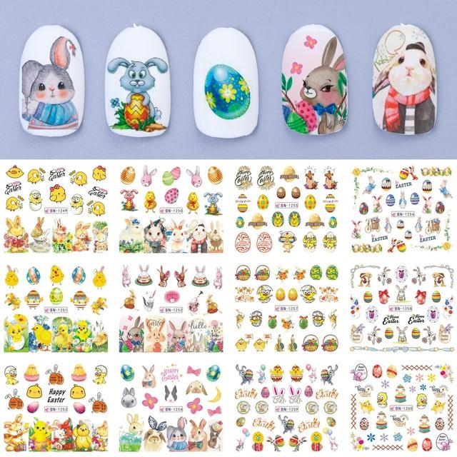 12 pçs coelho da páscoa prego água adesivos decalques dos desenhos animados ovo pintainho unha arte sliders envoltórios polonês decoração manicure TRBN1249 1260