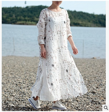 New products listed in the summer of 2017, 100% of the original design of high-end loose big yards of cotton linen women dress in the winter of 2016 new product the national wind original design thickened cowboy cotton women cotton coat loose big yards