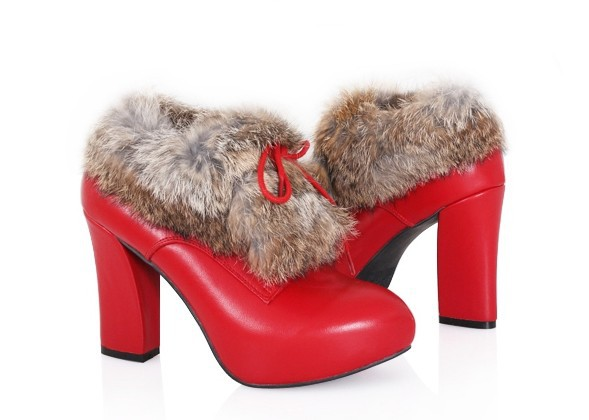 ФОТО customized cony hair short ankle-boot  full genuine leather lady's high heel snow boot