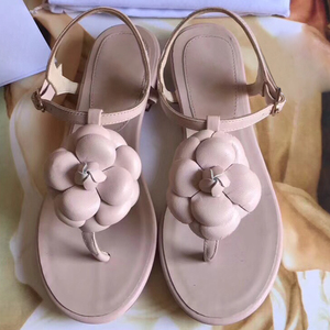 Image 3 - Женские сандалии на плоской подошве, пляжные шлепанцы из натуральной кожи, лето 2019