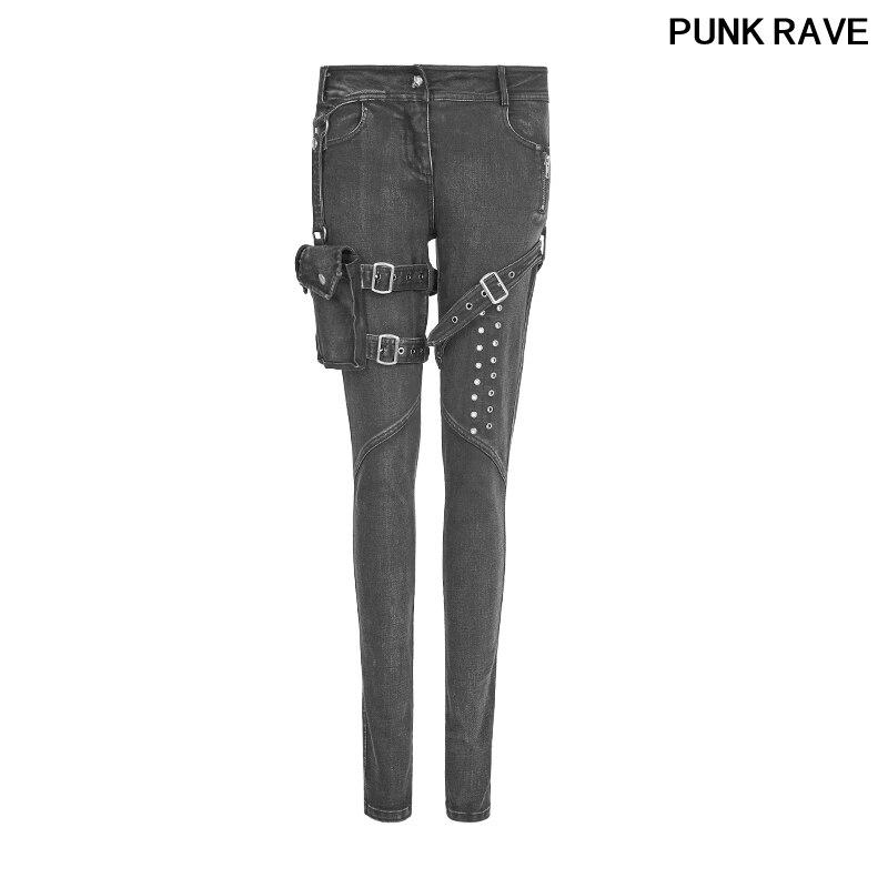 Панк ностальгические новая модель женские облегающие джинсы 3D карманов и проушины Дизайн Женские джинсовые Джинсовые брюки PUNK RAVE K 295
