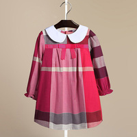 Brand New 2017 Children Girls Dress Autumn Bow Collar Long Sleeved Cotton Plaid Kids Clothes Vestido