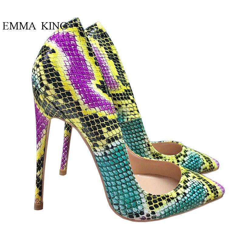 Stiletto Profonde Coloré Picture As Haut Chaussures Sexy Femme De Robe Talon Pointu Peu Talons Dames Parti Peau Pompes Bout Serpent 60pARwx
