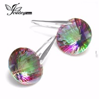 Chessboard 38ct Natural Mystic Fire Rainbow Topaz Round Drop Earrings 925 Sterling Silver For Women 2015