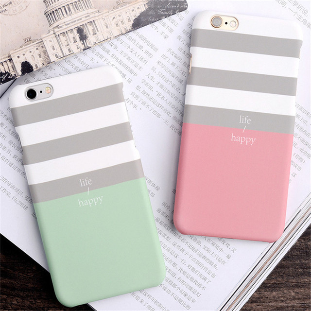 new concept 3428d 42d15 US $3.11 |Pink striped Phone Bag For iphone 5 5s SE 6 6s 6 6s Plus 7 7 Plus  Phone housing Case luxury plastic hard capa 7 7Plus phone case-in Phone ...