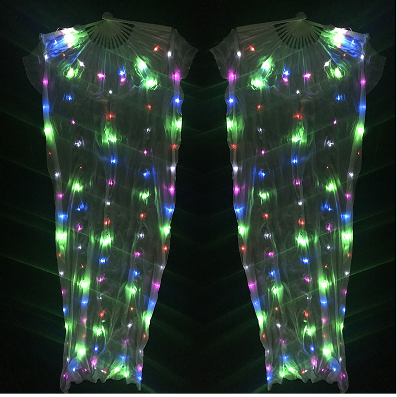 Tribal New Time-limited Belly Dance Top Women 2018 Led Light Belly Dance Fan Veil 1 Pair 100% Silk Costume Accessories Veils