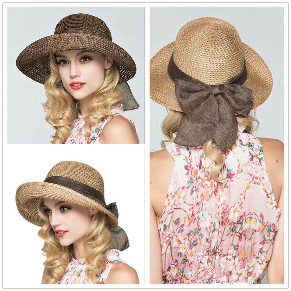 Newest Ladies Summer Large Brim Straw Sun Hat Beach Floppy Vintage Elegant Breathable Anti-UV