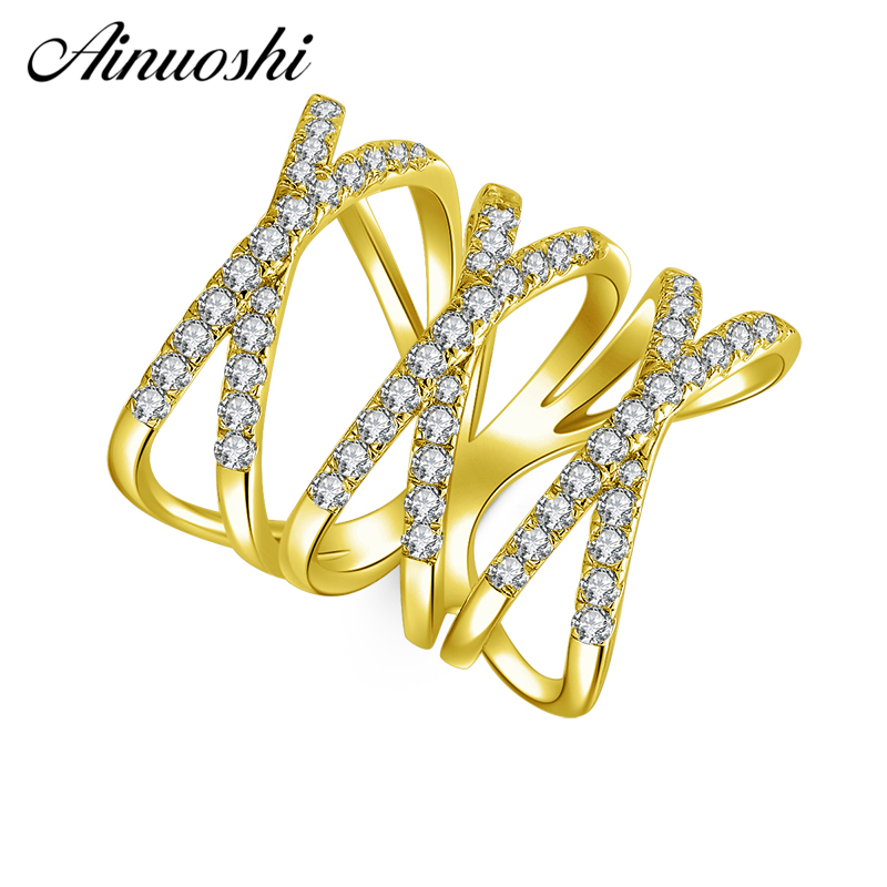 AINUOSHI 10K Solid Yellow Gold X Shape Weaving Ring Band Row Finger Hollow Ring Bague Wedding Engagement Jewelry for Women MenAINUOSHI 10K Solid Yellow Gold X Shape Weaving Ring Band Row Finger Hollow Ring Bague Wedding Engagement Jewelry for Women Men