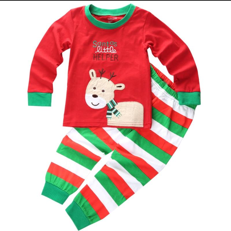 Emmababy 2017 Baby Kies Christmas Pyjama Pure Cotton Christmas Striped Sleevewear Cartoon Milu Deer Pyjama Set Warm Design 2-7Y