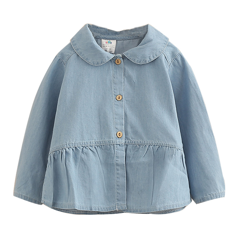 2018 Spring Autumn Casual 2 3 4 5 6 7 8 9 10 Years Old Turn Down Collar Long Sleeve Kids Girls Denim   Blouses     Shirts