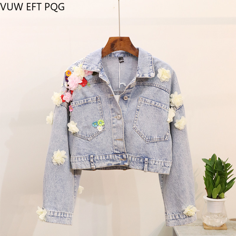 Floral Appliques Denim   Jacket   Women Lace Sequined Spliced   Basic     Jacket   For Women Hot Sale Direct Selling Sleeved Coats