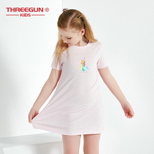 THREEGUN X Disney Princess Nightgown Toddler Girls Lovely 32STK 100% Cotton Summer Pajama Sleepwear Dress Nightdress