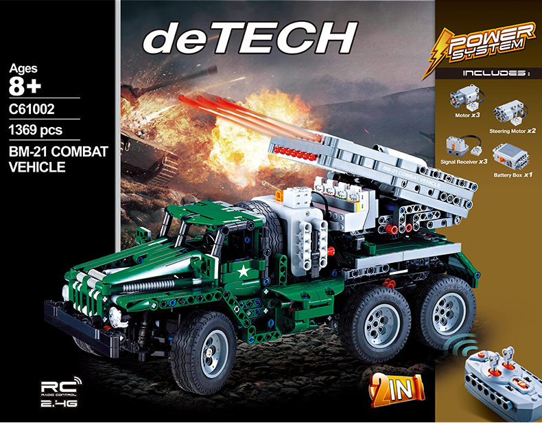 Technics modern military world war radio remote control Grad BM-21 combat vehicle 2in1 block model Ural transporter brick rc toy ...