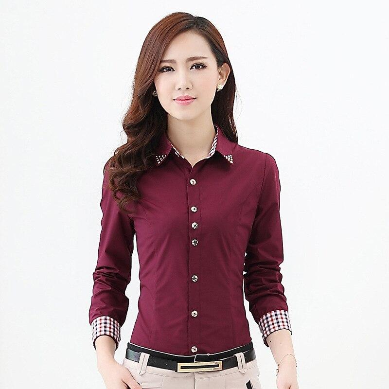 4c1658c57 Korean Fashion Ladies Office Shirts Long Sleeve Women Shirt Work Wear  Button Down Plus Size Tops Camisa Feminina Clothing S-4XL
