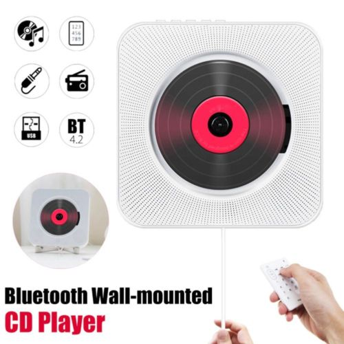 Wall Mounted CD Player Surround Sound FM Radio Bluetooth USB MP3 Disk Portable Music Player Remote Control Stereo Speaker Home 2