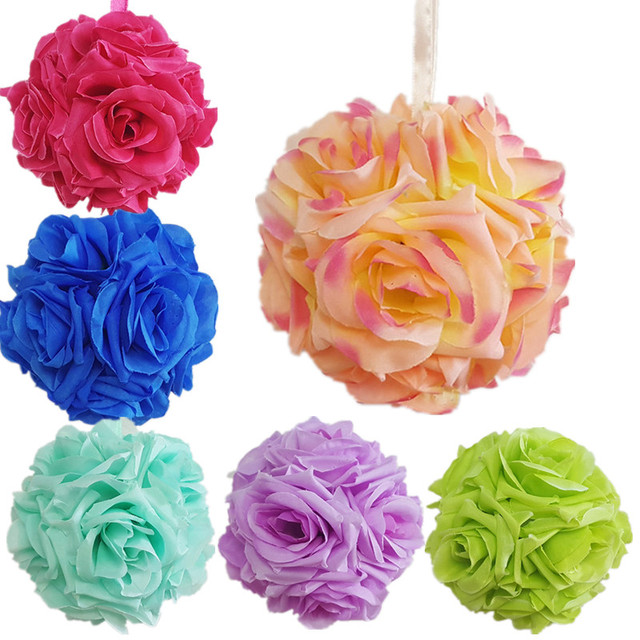Hot 10cm artificial rose silk flower kissing balls hanging flowers hot 10cm artificial rose silk flower kissing balls hanging flowers ball for wedding christmas ornament party mightylinksfo Choice Image