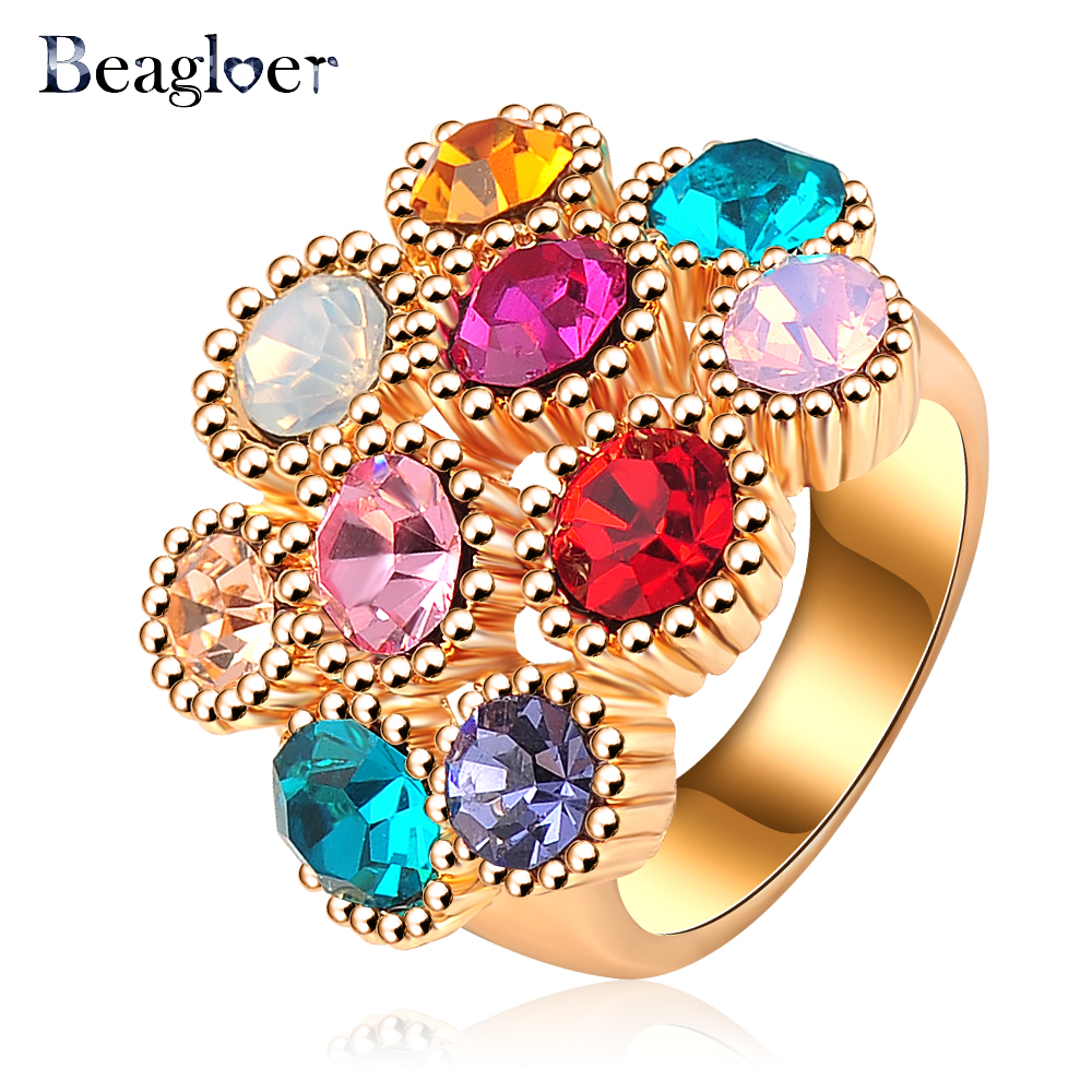 Beagloer Brand New Women Favourite Ring Rose Gold Color Rings Jewellery With Colorful Austrian Crystals 23*20mm Ri-HQ0292