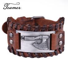 Teamer – Bracelet à breloque en cuir tressé pour homme, accessoire de bijoux, style Punk, Viking