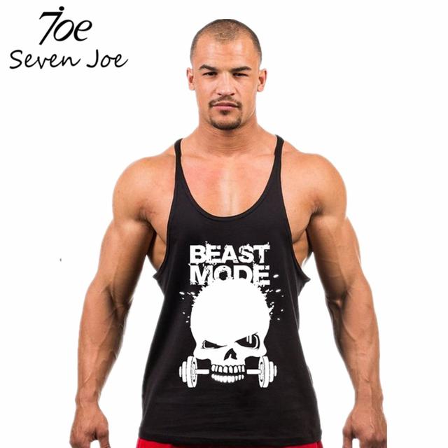 Seven Joe.Skull Weightlifting print Stringer Tank Top Men Bodybuilding and Fitness Vests Cotton Singlets Muscle Tops